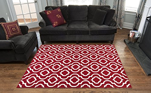 Red And Ivory Contemporary Moroccan Trellis Design 8 By 10 Area Rug 7 X9