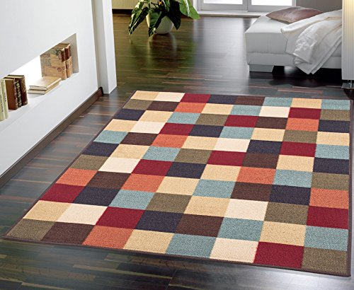 Ottohome Collection Multi Color Contemporary Checkered