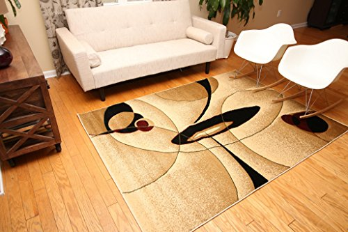 New City Contemporary Brown And Beige Modern Wavy Circles Area Rug 5 2 X 7 3