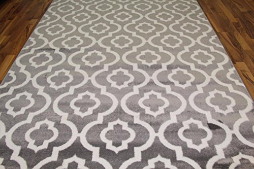 3028 gray moroccan trellis 710a—106 area rug carpet large new