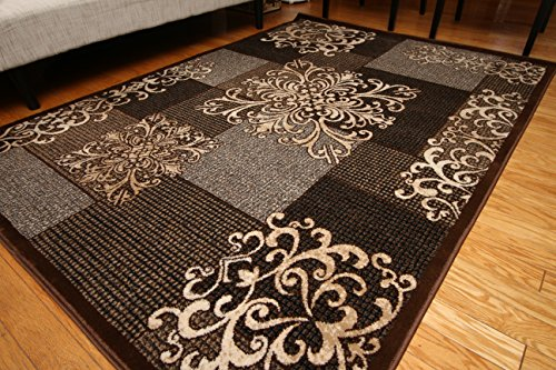 New City Contemporary Modern Flowers Squares Wool Area Rug 5 2 X 7 3 Brown