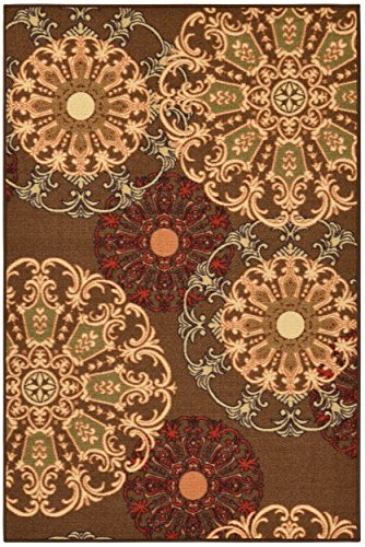 Ottohome Collection Brown Contemporary Damask Design Area