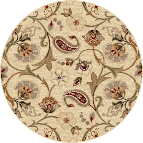 universal rugs  ivory ′ round area rug, feet inch round, Rug/