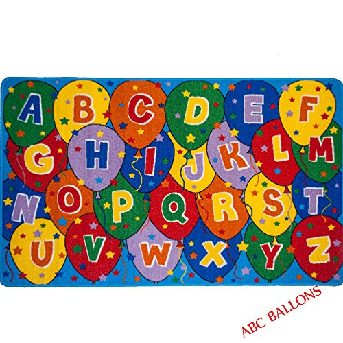 Educational ABC Alphabet Balloons 8 Ft. X 10 Ft. Area Rug KIDS CHILDREN  SCHOOL CLASSROOM BEDROOM EDUCATIONAL RUG NON SKID GEL RUG
