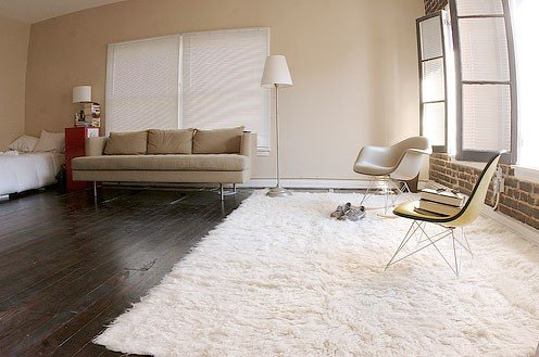 Super Area Rugs, Hand Woven Flokati White Shag Rug Natural 5×7 Wool (5ft X  7ft)