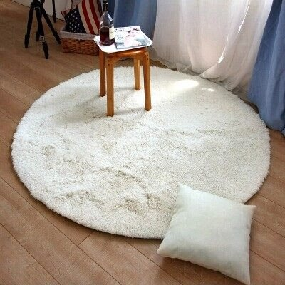 Super Soft Shaggy Rugs Round Area Rugs Modern Shag Cream Rug Living Room  Carpet Bedroom Rug Washable Rugs Solid Home Decorator Floor Rug And Carpets