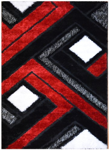 Royal Collection Black Red And White Contemporary Abstract Geometric Design Gy Area Rug Also Available In Diffe Sizes 6013 4 11 X6