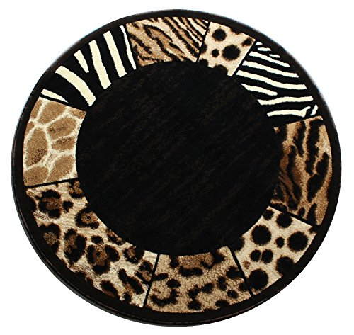 Modern Animal Print Round Area Rug Design S 73 Black 5