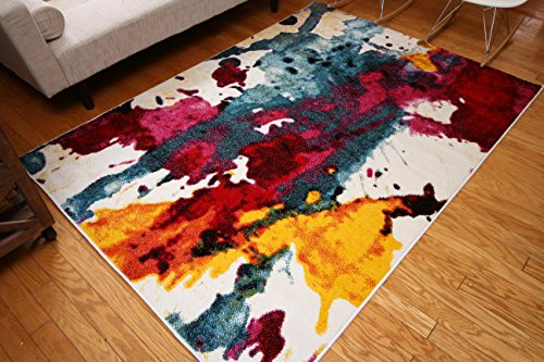 Radiance Art Collection Contemporary Modern Splat Yellow Blue Orange White  Wool Area Rug Rugs 6008 7u002710 X 10u002710