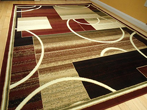 Contemporary Rug Multi Colored Area Rugs 8x11 Red 5x8 Living Room Carpet 8x10 Burgundy Modern Large