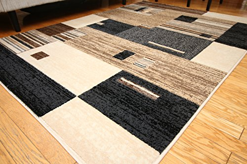 New City Contemporary Brown Beige Grey Modern Squares Wool