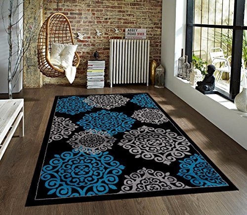 Turquoise Gray Black 7 10 2 Area Rug Modern Carpet Large New