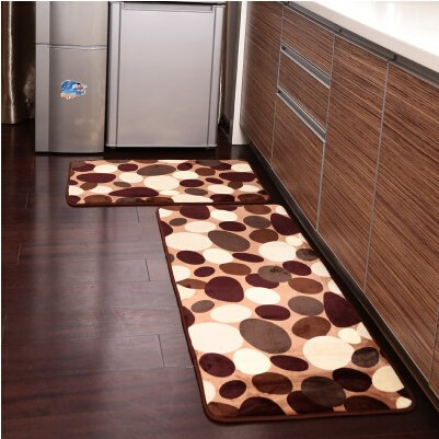 Ustide 2 Piece Coffee Stone Flower Kitchen Rug Set Soft