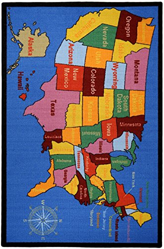 Kids Educational United States Map Cities 5 X 6 6