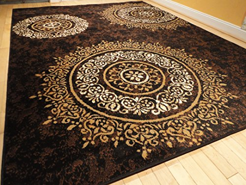 Luxury Century Brand New Contemporary Brown And Beige Modern Wavy Circles Area Rug 8 11 Black 5 Medium X8