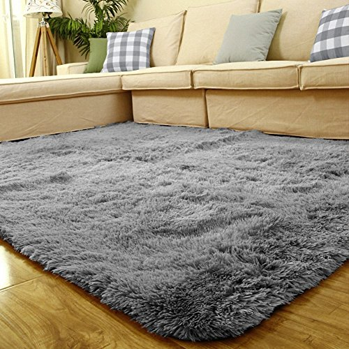 5cm thick decorative modern shaggy area rug super soft silky bedroom