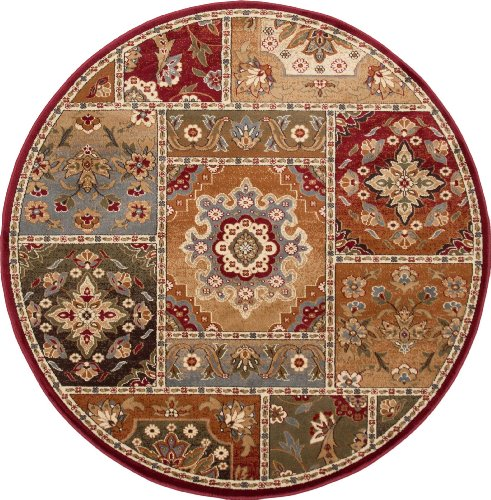 Universal Rugs 107720 Red 6 Round Area Rug 5 Feet 3 Inch