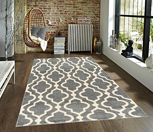Medallion Moroccan Trellis 5 X 7 Grey Amp Cream Area Rug