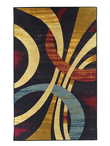Area Rugs 5 X 8 Contemporary Rug Wavy Circles Foyer Dining Room Living Multi Color Stain Resistant