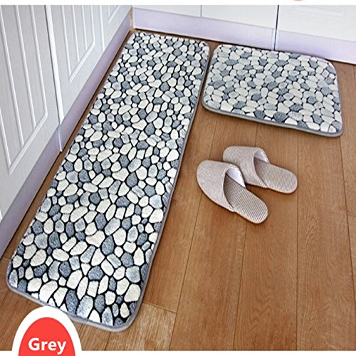 Ustide 2 Piece Grey Stone Rug Bathroom Rug Set Coral Fleece Memory Foam Mat  Non Slip Floor Runner Kitchen Rug Set