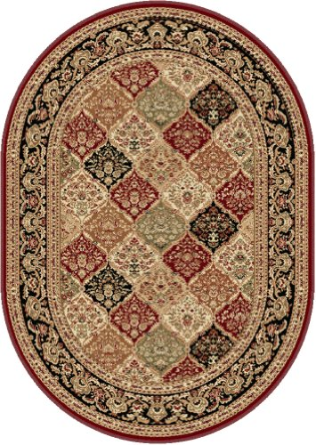 Universal Rugs 104770 Red 5 215 8 Oval Area Rug 5 Feet 3 Inch