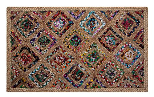 Better Trends Diamond Dyed Chindi Fabric Braided Area Rug