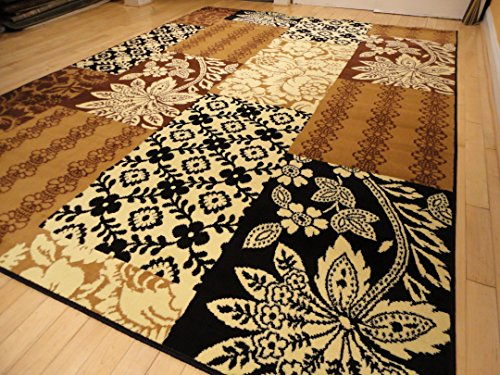 Large 8u00d711 Rug Modern Beige Black Cream Brown Area Rugs ...