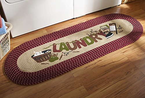 20 X 48 Burgundy Vintage Laundry Room Decorative Braided