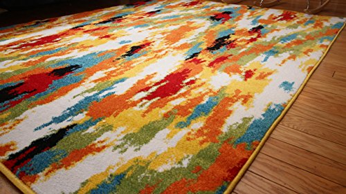 Radiance Ant6001 6x8 Art Collection Contemporary Modern Splat Wool Area Rug 5 2 X 7 3 Multicolor