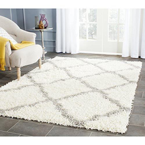 Safavieh dallas shag collection sgd257f ivory and grey for Dining room rugs 9x12