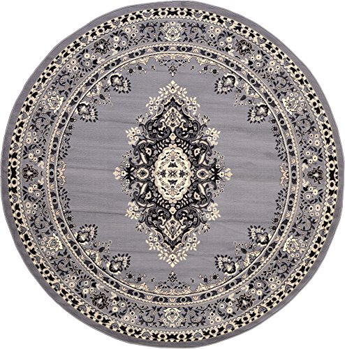 8 Feet By 8 Feet 8 X 8 Round Mashad Gray Area Rug