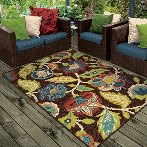 Orian Rugs Indoor Outdoor Floral Basil Brown Area Rug 5'2