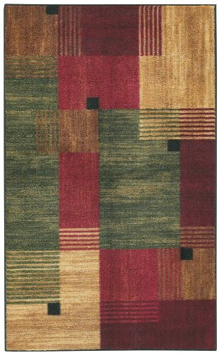 Mohawk Contemporary Rectangle Area Rug 5 X8 Green Red