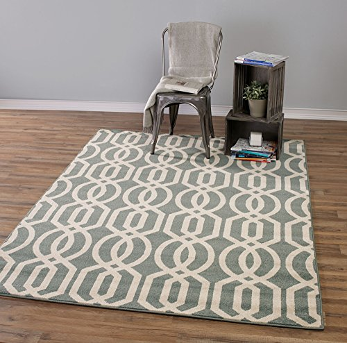 Teal And Beige Contemporary Moroccan Trellis Design 5 By 7 Modern Area Rug 3 X7