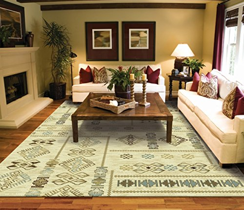 Superior Modern Casual Turkish Kilim Style Rug 8×5 Cream Blue Beige Brown Area Rugs 5×7  Contemporary Rugs For Living Room Large Rugs For Bedroom And Dining Rooms,  ...