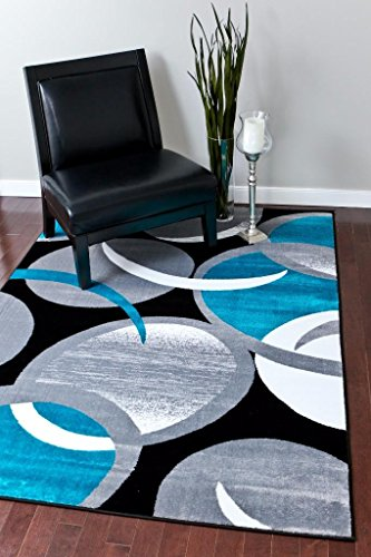 1062 Turquoise Gray Black Swirls 5 2 7 Area Rug Abstract Carpet