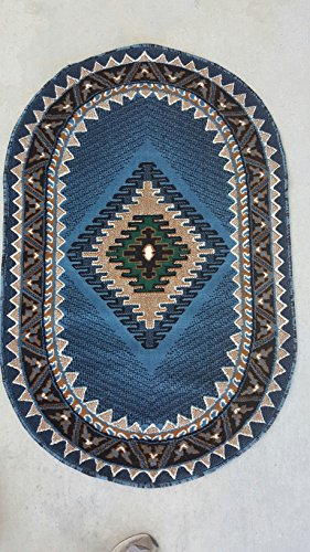 Southwest Native American Oval Area Rug Blue Design D143 3ftx4ft7in