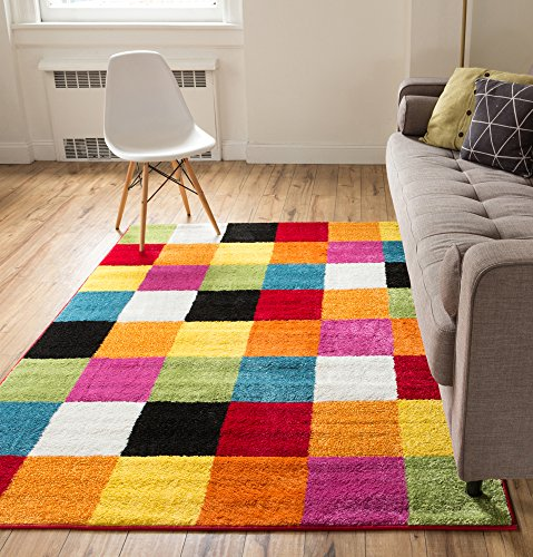 Modern Rug Squares Multi Geometric Accent 3 X 5 Area Entry Way Bright Kids Room Kitchn Bedroom Carpet Bathroom Soft Durable