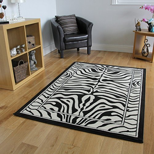 Safari Animal Black U0026 White Zebra Stripe Print Rug 80cm X 150cm (2ft 7u2033 X  4ft 11u2033)