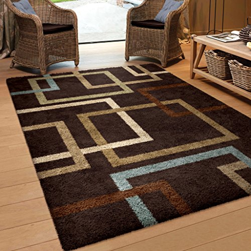 Orian Rugs Geometric Linked In Mocha Blue Area Rug 5 3 X 7 6