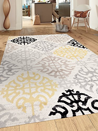 Contemporary Geometric Design Cream 5 3 X 7 3 Indoor