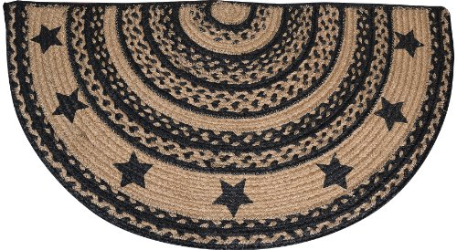 Rug Braided Jute Farmhouse Star Half Circle Shaped Black Tan Primitive Country Rustic