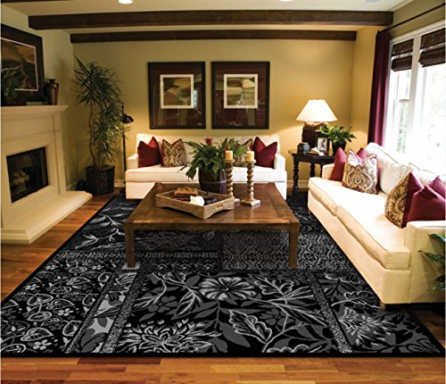 Black silver grey modern 8 11 area rugs for living room for Living room rugs 8 by 10