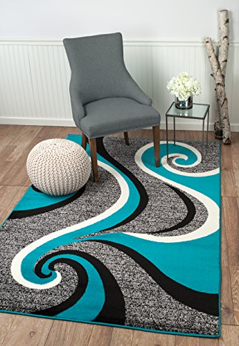 Summit 37 New Grey Torquoise Area Rug Modern Abstract Rug