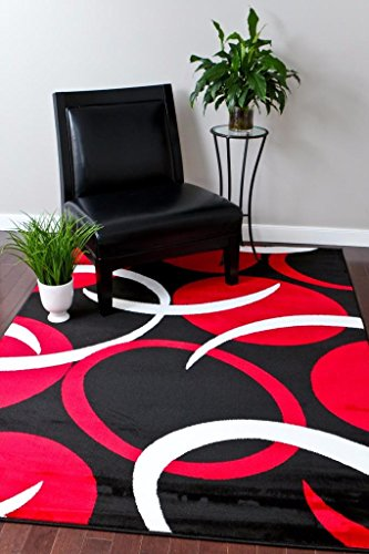 1062 Red Black 5 2 215 7 2 Area Rugs Carpet Modern Abstract