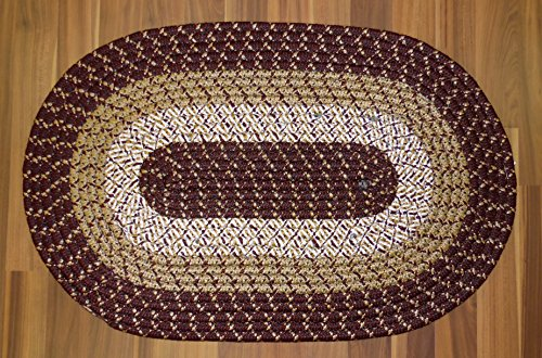 Burgundy Braided Oval Accent Rug Tri Color Reversible 18 X 28