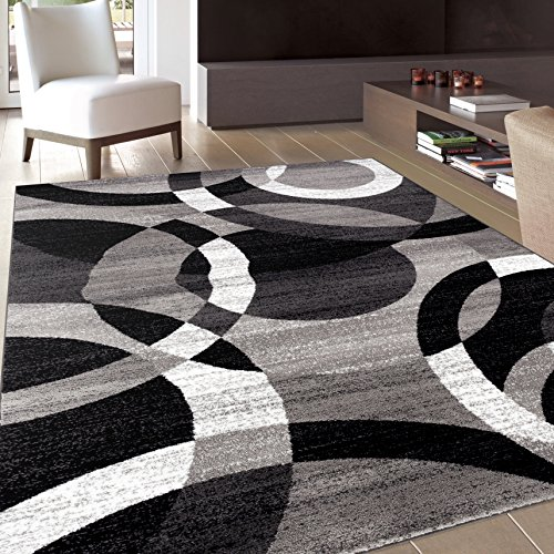 contemporary modern circles gray area rug abstract 7′ 10″ x 10′ 2