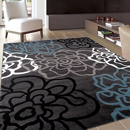 Rug Contemporary Modern Fl Flowers Area 5 3 X 7 Gray