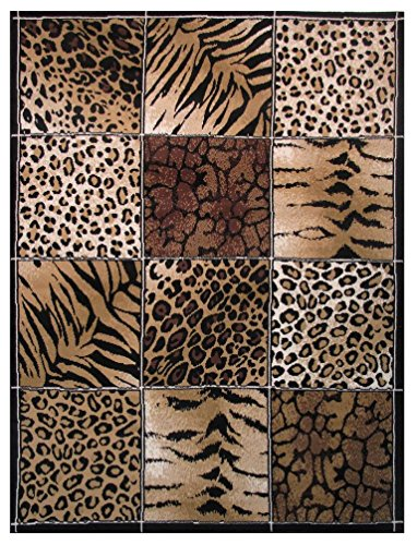 Rugs 4 Less Collection Modern Animals Skin Print Leopard Girraffe Tiger Mix Area Rug R4l 12 032 5 X7