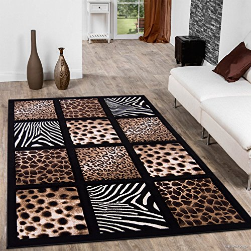 Allstar black dots square animal prints design modern for Geometric print area rugs